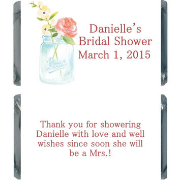 Mason Jar Personalized Bridal Shower Candy Favors