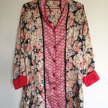 Vintage Christian Dior, lounge wear, Asian inspired cherry blossom print, blouse