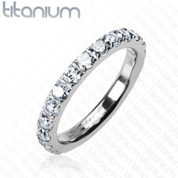 Round CZs All Around Eternity Band Women's Ring Solid Titanium