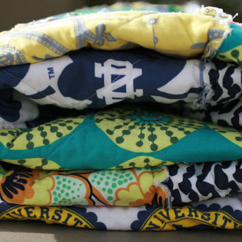 Notre Dame Quilt, Picnic or Throw, ND Quilt, Rag Quilt, Go Irish Quilt, Handmade, All Natural, Blue, Green Yellow