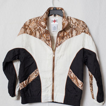 80's Leopard Print Gold Windbreaker, Gold and White Animal Print 80's Windbreaker, Gold Embellished Made in Russia Windbreaker