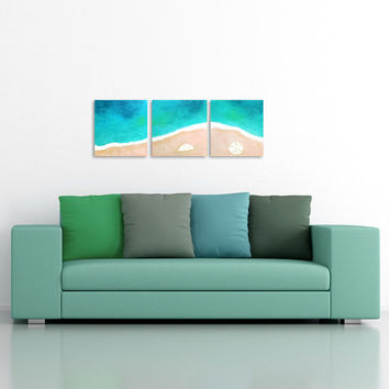 TROPICAL SHORELINE No.6, Home and Office Art, Set of 3 12x12 Acryic Canvas, Beach Themed Decor