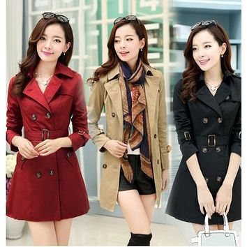 Trench Coat for Women 2017 Fashion Turn-down Collar Slim Double Breasted Cotton Autumn/Spring Woman Overcoat with Sash