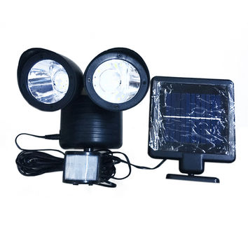 22 LED Adjustable Dual Solar Powered Garage Motion Sensor Security Flood Light   black