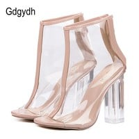 Gdgydh High Heels Summer Shoes Transparent Clear Ankle Boots For Women Open Toe Thick Heels Women's Shoes Back Zipper Size 40