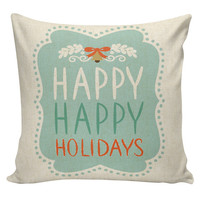 Christmas Pillow Cushion Cottage Style Gift Cotton and Burlap Pillow Cover CH-101 Holiday Elliott Heath Designs