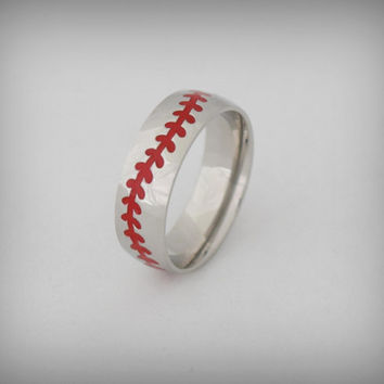 "BASEBALL RING ""Baseball Stitch"" Stainless Steel Ring"