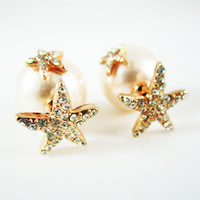 Starfish Double Pink Pearl Earrings