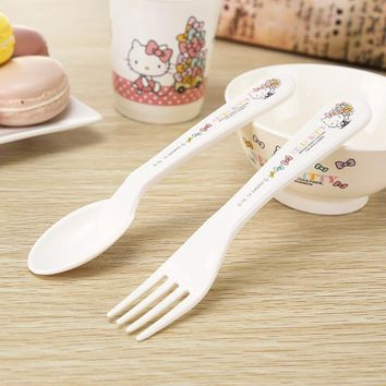 2PCS/SET Cartoon Hello Kitty Kid Tableware Lunch Set Cute Kawaii Baby Girl Boy PP Health Dinnerware Set 2B