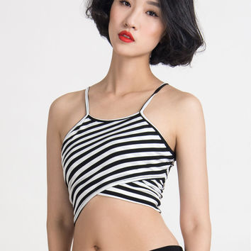 White and Black Monochrome Halter Stripe Cut Away Wrap Crop Top