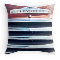 Red Chevrolet Grill Throw Pillow, Old Truck, Gift for Him, For Dad, Man Cave Scatter Cushion