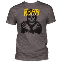 Men's The Misfits Classic Skull Yellow Logo Fitted Jersey T-shirt