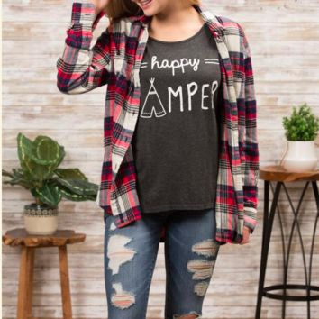 Happy Camper Tee - Charcoal - Small or Medium only