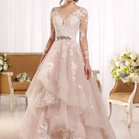 Tulle wedding dress with illusion lace sleeves - Essense of Australia