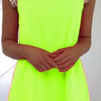 Fluorescence Green Patchwork Sequin Embellished Sleeveless Loose Evening Party A Type Mini Dress
