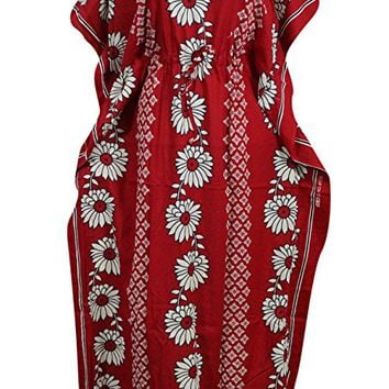 Women's Boho Kaftan Dress Red Floral Printed Caftan Kimono House Dresses XXL