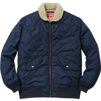 Supreme: Quilted Nylon Tanker Jacket - Navy
