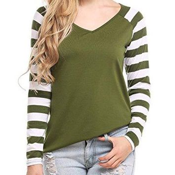 Zeagoo Women Casual Striped Raglan Sleeves V Neck Baseball Tee T Shirt