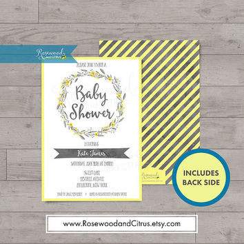 Yellow and Grey Baby Shower Invitation, Floral Baby Shower, Baby Shower Gender Neutral, Baby Shower Invites, Yellow Baby Shower Printables