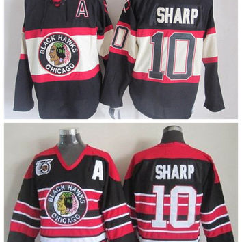 Throwback Chicago Blackhawks Jersey 10 Patrick Sharp Jerseys Home Red Patrick Sharp Hockey Jersey Winter Classic 75th Black Stitched A Patch