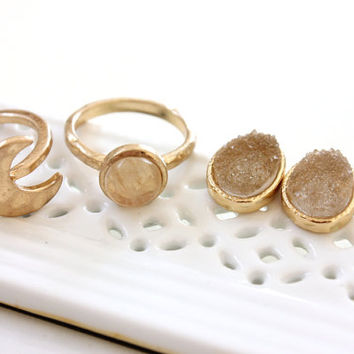 SALE ~ Moon and Gold bead ring Gold Plated - set of two rings