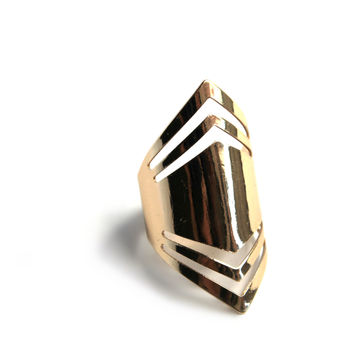 """GeoMod"" Adjustable Gold Ring"