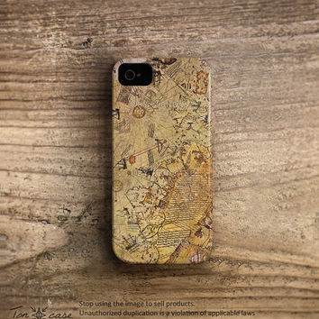 World map iPhone 5 case, World map iphone 4 case, Map iphone 4 4s 5 case, High quality 3D printing, Vintage world map of brown /c28