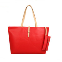 Contrast Color Tote Bag Swagger Bag with Extra Purse
