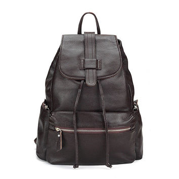 Medium Size Ladies Chocolate Leather Backpack. Genuine Leather Dark Brown Travel Bag School Bag. MADE-TO-ORDER