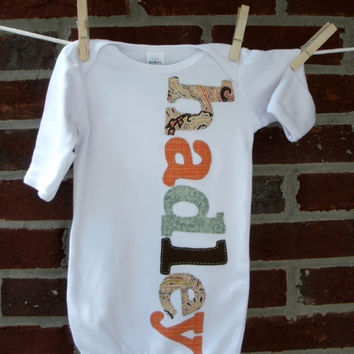 personalized baby gown, newborn coming home outfit, baby boy or baby girl, choice of fabric, monogrammed gown