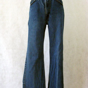 70s Levi's Jeans, Vintage Orange Tab 517 Levi Strauss Medium Dark Zipper Fly Flare Slight Bell Bottom Leg Jeans Size 31w