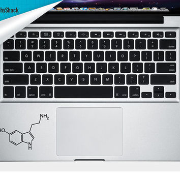 Serotonin Molecule Trackpad Decal Vinyl Laptop Decal Mac Stickers Decals Chemical Molecule Decal Mac Arm Rest Trackpad Decal