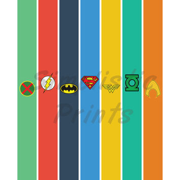 Justice League 8x10 wall print, Superman, batman, wonder woman, green lantern, aquaman, flash, manhunter