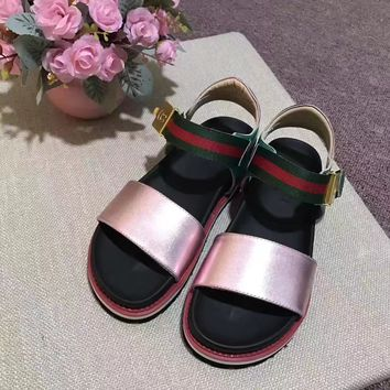 GUCCI Women Trending Fashion Leather Casual Flat Sandal Slipper Pink