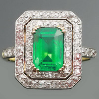 Colombian emerald ring diamond Art Deco by adinantiquejewellery