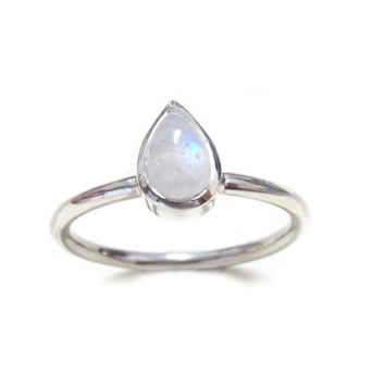 Pear shaped Rainbow Moonstone Stackable Ring Sterling Silver, June Birthstone Stacking Ring, Bezel Set, Size 2-15