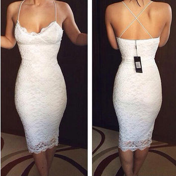 Cheap White Lace Party Cocktail Dresses Sexy Spaghetti Straps Tea Length Short Homecoming Prom Dress Backless Vestidos de Renda
