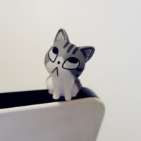 Cute Gray Cat  sitting Dust Plug - earphone plug