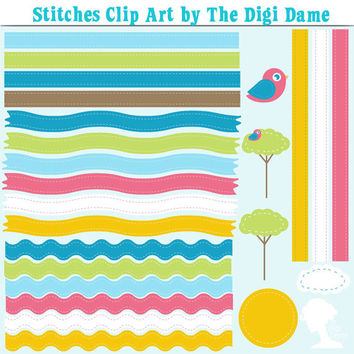 Digital Scrapbooking Elements/Clip Art: INSTANT DOWNLOAD Stitches with Clouds, Sun, Trees & Birds