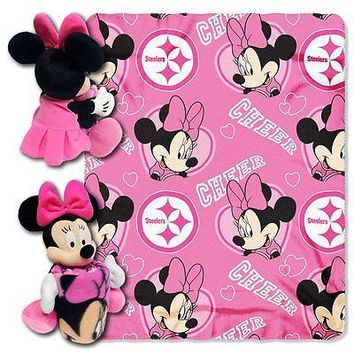 Minnie Mouse Cheerleader Pittsburgh Steelers NFL Throw and Hugger Pillow Set
