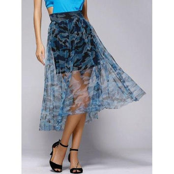 Fashionable Camo Tulle Grenadine Printing Skirt For Women