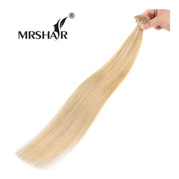 """MRSHAIR 16# I Tip Fusion Hair Extensions On Capsules 1g/pc Non Remy Bond Real Human Hair 16"""" 20"""" 24"""" Pre Bonded Gold Blonde Hair"""