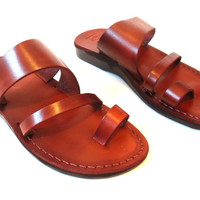 SALE! Leather Sandals TRIPLE Men's Shoes Jesus Jerusalem Strappy Thongs Flip Flops Flats Slides Slippers Biblical Colored Footwear Fisherman