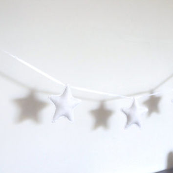 White Star Garland - White Star Banner - White Stars Bunting - nursery decor, photo prop, babyshower gift, christmas home decor