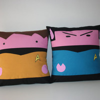 Star treck pillow 2 Decorative pillow cushions covert  cinema adict Mr Spock & Captain Kirk star trek 50x 50 cm  20' x 20' Inches