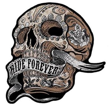 Ride Forever Banner Skull Tattoo Roses Embroidered Back Patch Iron Sew HLPM12619
