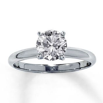 Diamond Solitaire Ring 1 1/2 Carat Round-cut 14K White Gold