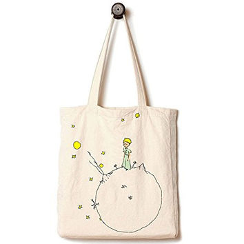 The Little Prince Moon Illustration, Handmade Heavy-Duty Canvas Tote Bag