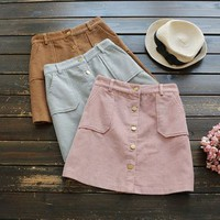 Button A-Line Skirt