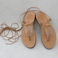 Greek T-Strap Leather Sandals, thong with macrame decoration, CLIO 02, SS15
